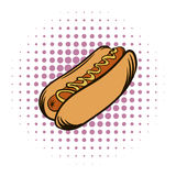 Hot dog with mustard comics icon Royalty Free Stock Photos