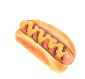 Hot dog with mustard. Royalty Free Stock Image