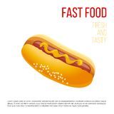 Hot Dog with mustard Royalty Free Stock Image