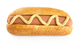 Hot dog with mustard isolated on white Stock Photography