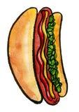Hot Dog with mustard, ketchup and green relish Stock Images