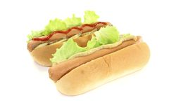 Hot dog with mustard and ketchup Royalty Free Stock Photography