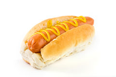 Hot dog with mustard over white Royalty Free Stock Images