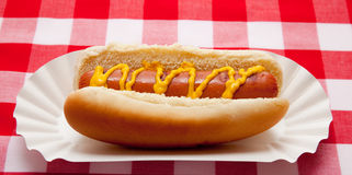 Hot dog with mustard on red plaid table cloth Stock Photo
