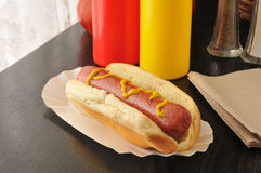 Hot dog with mustard Stock Image
