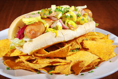 Hot dog with nachos Royalty Free Stock Images