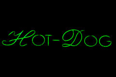 Hot dog neon sign on black Royalty Free Stock Images