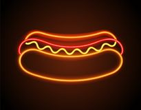 Hot Dog Neon Signboard Poster Vector Illustration. Hot dog neon signboard, poster with bun and sausage, ketchup and mayonnaise with mustard, delicious food, sign Royalty Free Stock Image