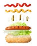 Hot dog odizolowywający na bielu Obraz Stock