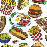 Hot dog with one sausage, burger, sandwich, tacos, popcorn, chips, french fries, pizza with salami, bacon and eggs on plate royalty free illustration