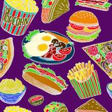 Hot dog with one sausage, burger, sandwich, tacos, popcorn, chips, french fries, pizza with salami, bacon and eggs on plate stock illustration