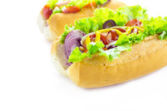 Hot dog over white Stock Photography