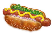 Hot dog painted colors Stock Photos