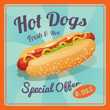 Hot dog plakat Obrazy Stock