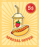 Hot dog plakat Obrazy Stock