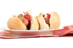 Hot dog on a plate Royalty Free Stock Image