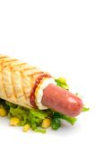 Hot dog on plate Stock Photo