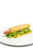 Hot dog on plate Stock Photos