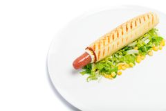 Hot dog on plate Royalty Free Stock Images