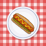 Hot dog on a plate illustration. Hot dog on a plate; Picnic food on a red checkered tablecloth Royalty Free Stock Image