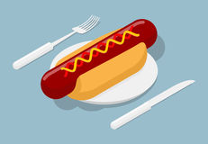 Hot dog on plate isometric. 3D fast food. Cutlery fork and knife Stock Photography