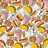 Background pattern with fast food icons Stock Photography