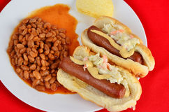 Hot Dog and Pork n Beans Royalty Free Stock Photos