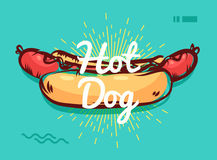 Hot dog poster with cool design Royalty Free Stock Images