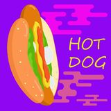 Walking hot dog illustration. royalty free illustration
