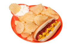 Hot Dog with Potato Chips and Dip Royalty Free Stock Photo