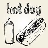 Hot Dog ręki Rysować ilustracje Fotografia Royalty Free