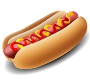 Hot dog realistico Fotografia Stock Libera da Diritti