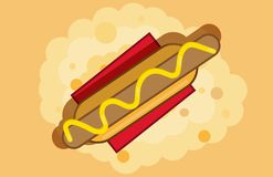 Hot dog on a red napkin vector graphic stock illustration