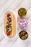 Hot Dog With Relish Onions Peppers Stock Image