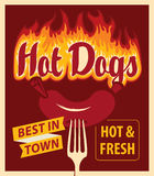 Hot dog in retro style sausage and fire Royalty Free Stock Photos