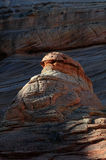 Hot-dog rock. At The Wave, famous rock formation at North Coyote Buttes in Utah USA stock photos