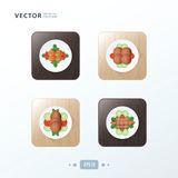 Hot dog And Salad Icons design food on wood Royalty Free Stock Photos