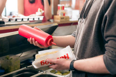 Hot Dog salesman Stock Image
