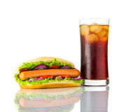Hot Dog Sandwich with Cold Cola on White Background Royalty Free Stock Photography