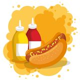 Hot dog and sauces bottles. Vector illustration design Stock Photography