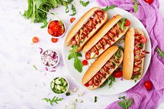 Hot dog with sausage. bacon, cucumber, tomato and red onion on white plate. Top view. Flat lay Royalty Free Stock Photos
