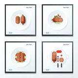 Hot dog, sausage set 4 in 1 Stock Photo