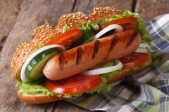 Hot dog with sausage and vegetables close up Royalty Free Stock Photo