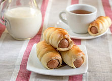 Hot-dog with sausages in a plate with tea and milk. Hot-dog with sausages on a table with milk and tea royalty free stock photo