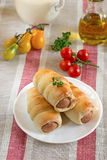 Hot-dog with sausages in a plate. Hot-dog with sausages and vegetables in a plate stock photo