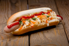 Hot dog savoureux Photographie stock