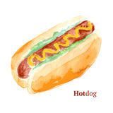 Hot dog savoureux d'aquarelle dans le style de vintage Photo stock