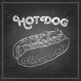 Hot dog scetch on a black board Stock Image