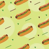 Colorful seamless pattern of hot dog royalty free stock photography