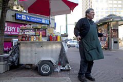 A hot dog seller in Edmonton, Canada Royalty Free Stock Photos